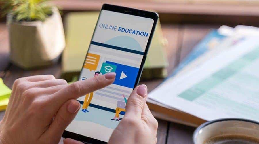 Student looking at an eLearning course on mobile