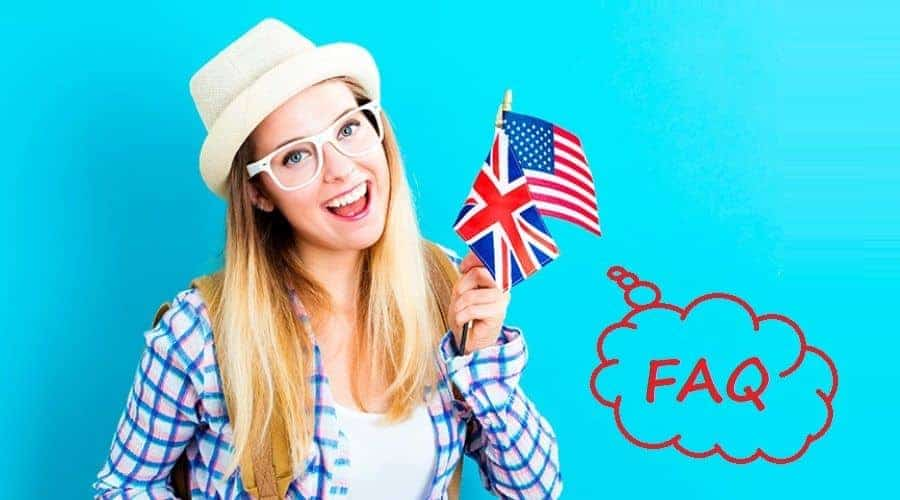 Female student holding UK and USA flag and thinking about English FAQ