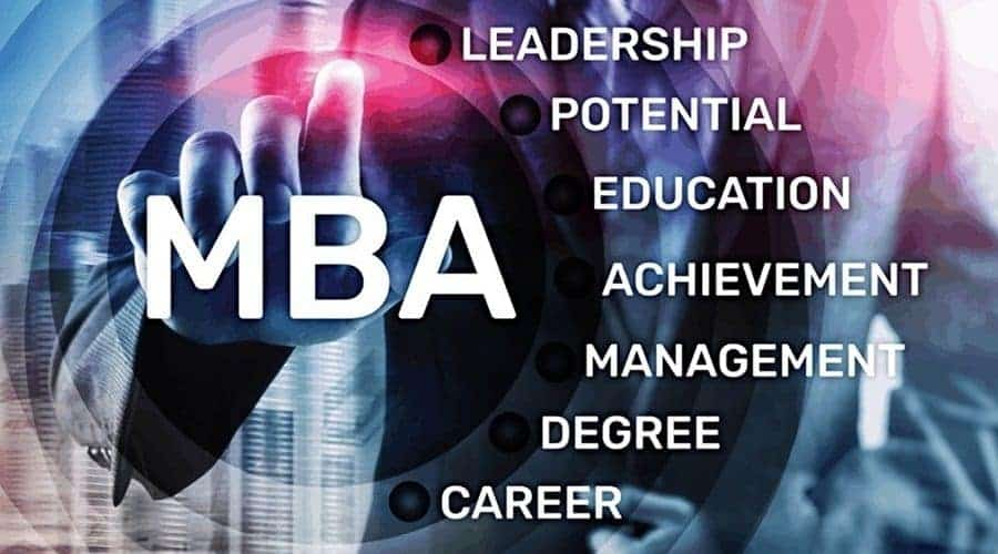 MBA admission officer pointing at image with list of MBA benefits