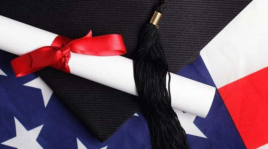 Mortarboard and American flag represent top universities in USA
