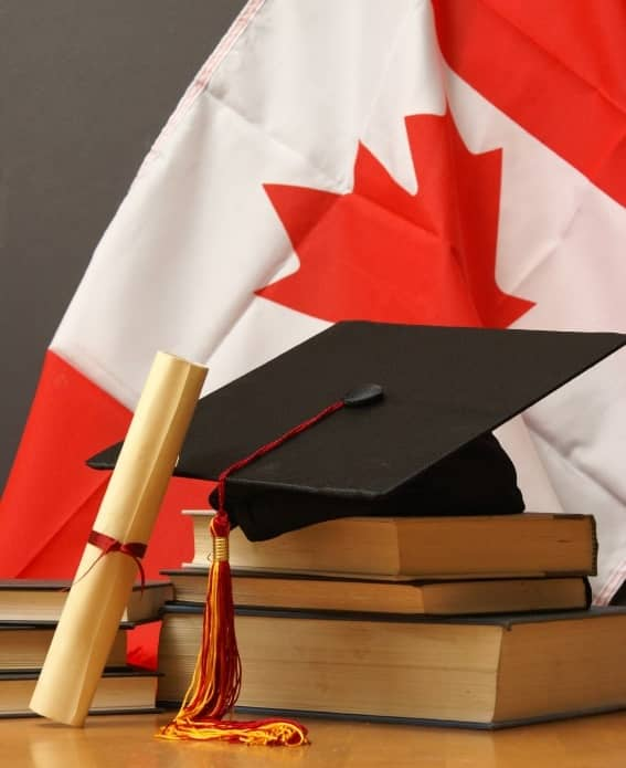 Canada flag and mortarboard representing study in Canada cost
